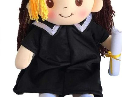 """""""Congratulations Graduated!"""" Cloth Rag Doll with Cap & Gown Graduation Gift for Her This 17"""" collector's doll"""