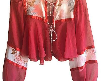 vintage red sheer lace bolo shrug satin piping floral scape detail beaded ties