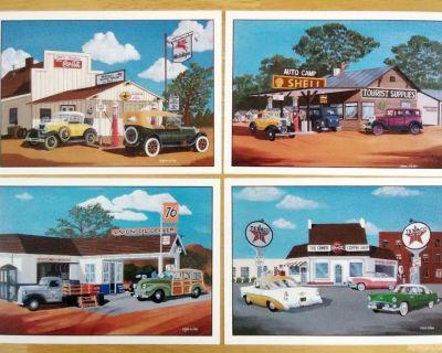 Vtg Classic Automobiles & Mobil Texaco Shell Union 76 Gas Stations Set
