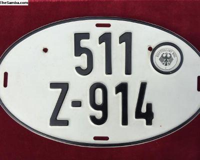 Porsche 914 old german license plate