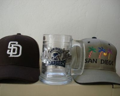 SAN DIEGO CHARGERS BEER STEIN  w/METAL INLAY LOGO+ 2 CAPS !