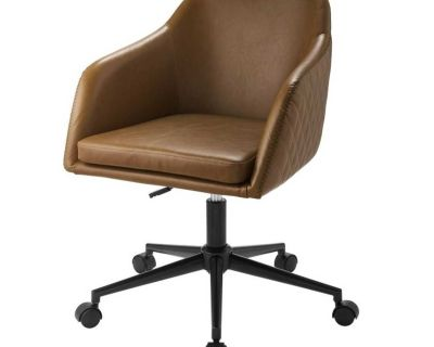 NEW - IN-BOX - QUILTED FAUX BROWN LEATHER BARREL SWIVEL OFFICE CHAIR