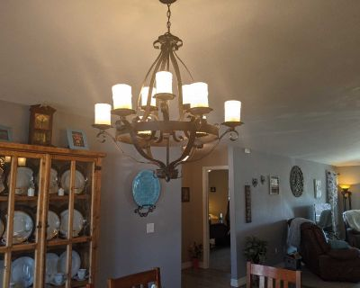 Bronze 9 light chandelier with faux candles