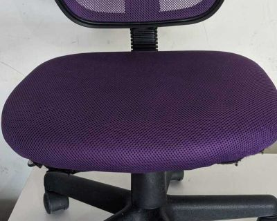 Rolling purple office chair, height is adjustable.
