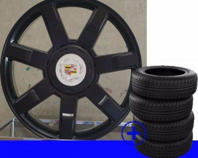 "22"" Cadillac Escalade Black Platinum 7 Spoke Rims Esv Ext Gm/chevy Wheels /tires"