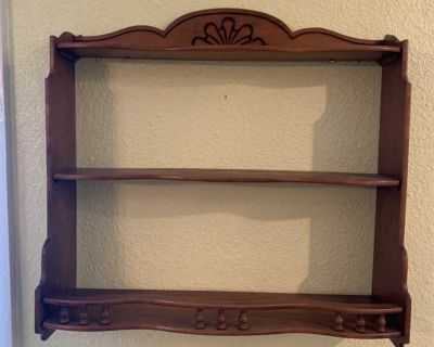 Vintage wood shelf with plate groove