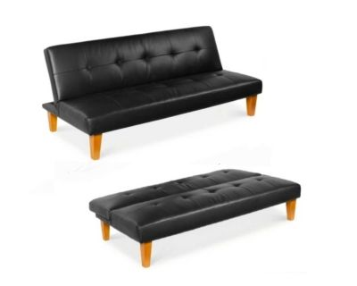NEW - IN-BOX - TUFTED CONVERTIBLE LOUNGE FAUX BLACK LEATHER FUTON SOFA LOUNGE BED
