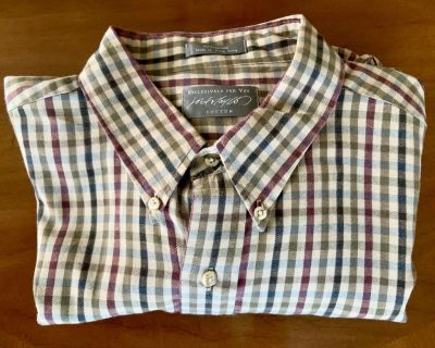 Lord & Taylor Mens Fitted Autumn Tattersall Dress Shirt (17-35)