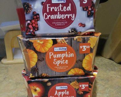 Candles Apple Cinnamon, Pumpkin Spice, Frosted Cranberry