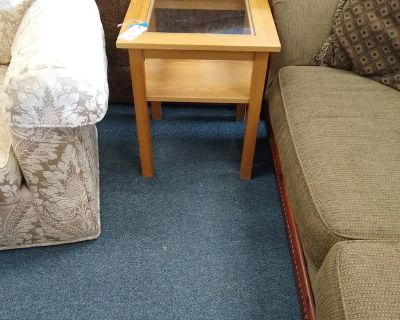 Light Wood Glass Top Side Table