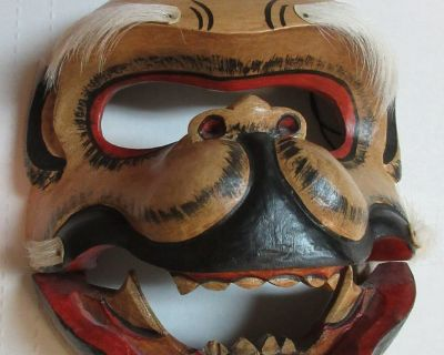 Hand Carved-Hand Painted Balinese Monkey Mask. Articulated jaw and Horse hair.