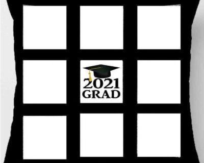 Grad photo pillow has spots for 8 pictures. What a wonderful keepsake