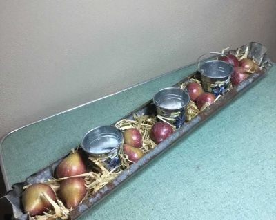 Vintage galvanized chicken feeder with candles in little hand painted buckets and pears