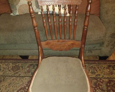 Antique Turn of the century double press backed rocket excellent condition very sturdy chair bottom had been reupholstered