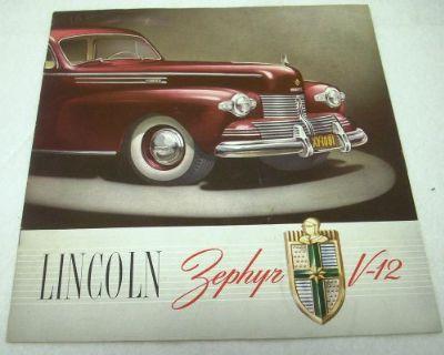 1942 Lincoln Zephyr V-12 Color Dealer Sales Brochure Original 42 Rare