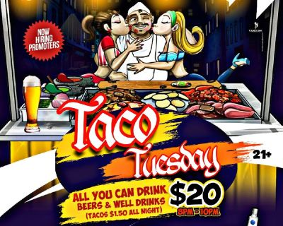 $1.50 TACO TUESDAYS + UNLIMITED BEERS & WELL DRINKS 8-10PM @ GODTTI'S