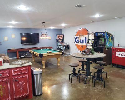 "Pinball, pool table, slot machine, shuffleboard, adult drink machines, 65"" TV - Brazos County"