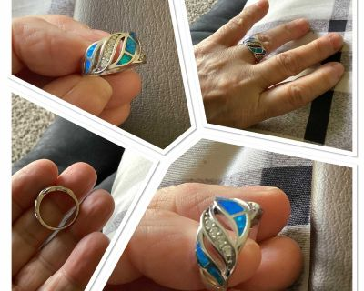Nice blue shell ring...brand new...size 6