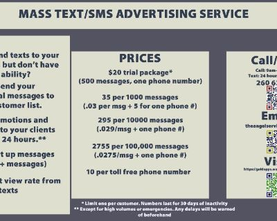 Send Texts to your Customers with my Mass Texting Service!