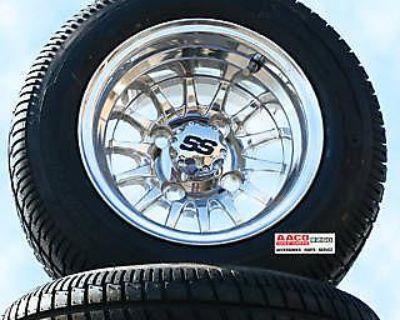 Golf Cart Wheel And Tire Polished Shiny Combo Free Lugs Center Caps Set Of 4