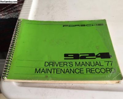 Porsche 924 owners manual 1977