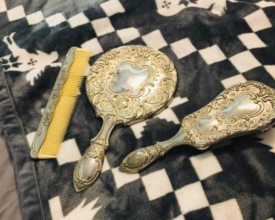 Antique brush mirror and comb set