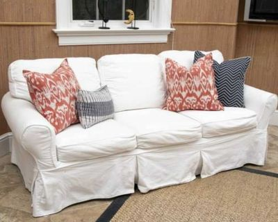 Pottery Barn WHITE Slipcover 3-Seat Sofa with Washable Covers