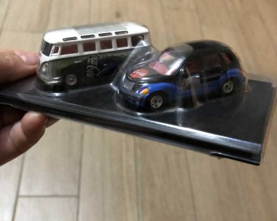2 Collectible Coca-Cola Toy Cars Johnny Lightning Cars 2001 & 2002 w/ Case - Volkswagen Van & another car (Like Hotwheels)