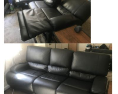 Faux Leather Reclining Couch, Great Condition