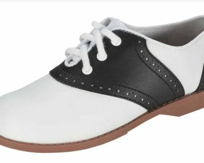 ISO infant/toddler size 5 black & white saddle shoes for a Halloween costume