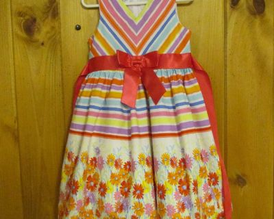 Bonnie Jean 4T striped/floral; poly-lined (w/netting), cotton dress