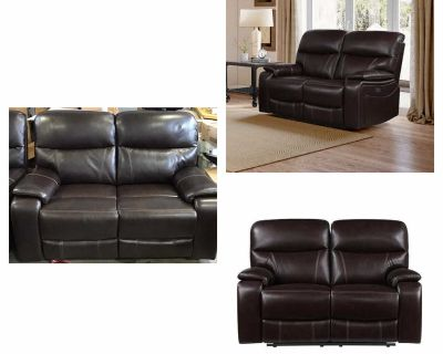 Fallon Leather Power Reclining Loveseat with Power Headrests (Assembled)