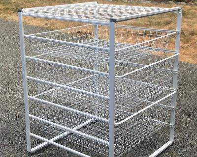 White Wire Storage Cart with Sliding Drawers