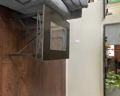 """Metal and glass side table (28"""" x 24"""")"""