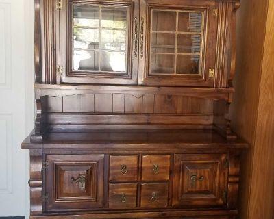 Large Vintage Hutch China Cabinet