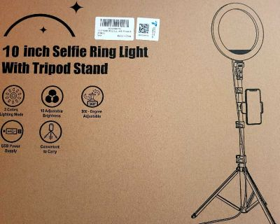 """Brand New Never Used/has warranty 10.2"""" Selfie Ring Light with 65"""" Adjustable Tripod Stand & Phone Holder"""