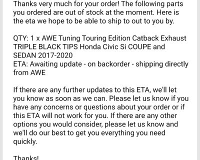 Back order exhaust