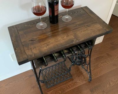 Repurposed Antique Sewing Machine Table with Wine Rack