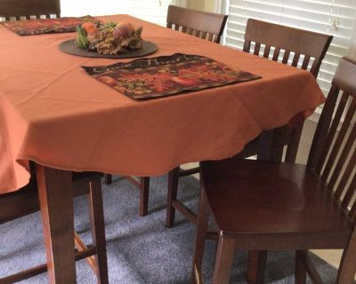 SOLID WOOD COUNTER HEIGHT (36 ) DINING TABLE with 6 CHAIRS