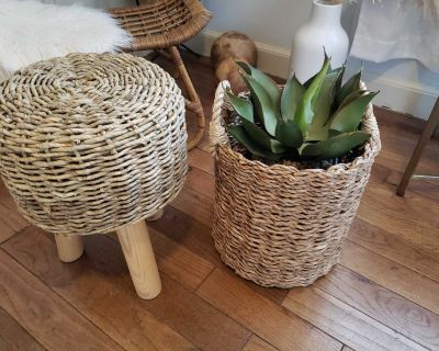 Wicker Stool and Basket with artificial plant