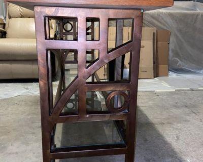 Sofa table wood with metal base