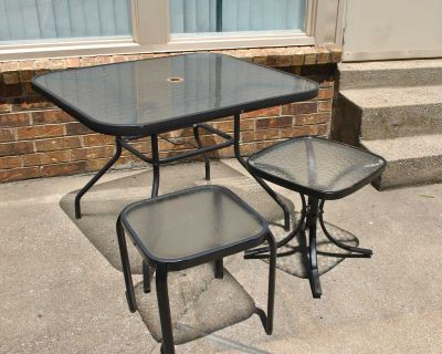 1 glass and metal table and 2 side tables glass and metal
