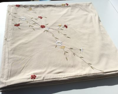 Beige Duvet Cover w/ Embroidered Flowers - Queen