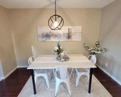 Refinished Dining Table with 4 white metal chairs