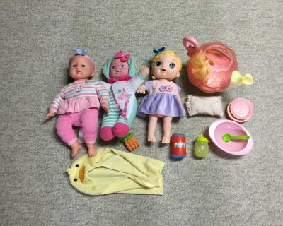 Baby doll lot with wooden cradle