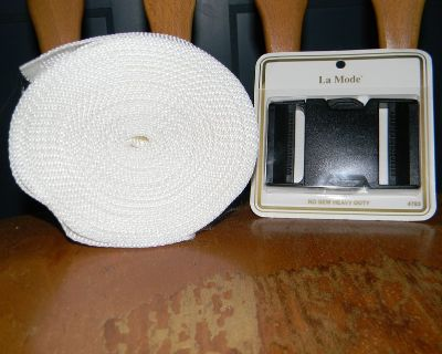 28 Ft. 2 inch wide White Polypropylene Webbing with Buckle
