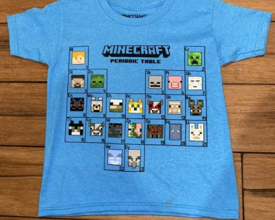 Minecraft periodic table boys shirt new! XS 4/5 new! NWOT (AAS)