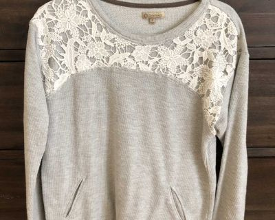 Grey sweater with crochet detailing