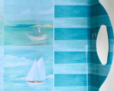 "Sakura Evolution ""Sailing"" Melamine Tray w/ Handles"