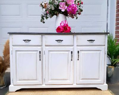 """Farmhouse solid wood buffet or TV stand, white/distressed, 50L x 18 D x 33 H"""""""